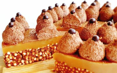 Tærte af poppede quinoa, peanutbutter og chokoladeganache